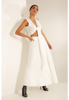 White Bow Front Crepe Top