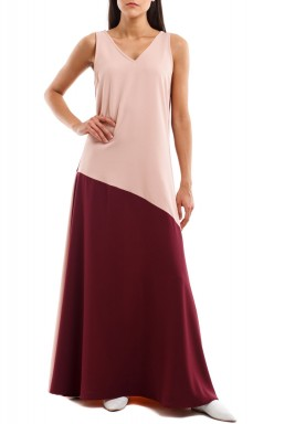 Pink & Maroon Sleeveless Dress