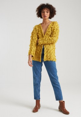 YELLOW TASSEL MIDI KNIT CARDIGAN