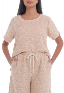 Sand Towel Texture Short Sleeves Top