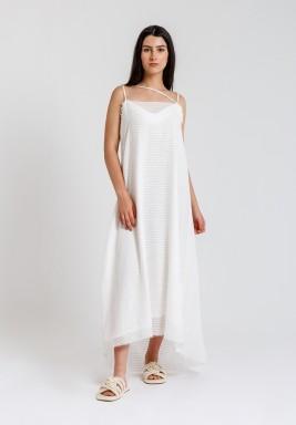 White Organza Striped Dress