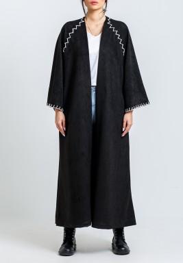 Black Raglan Suede Stitched Bisht