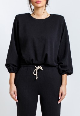 Black Padded Shoulders Side Slits Top