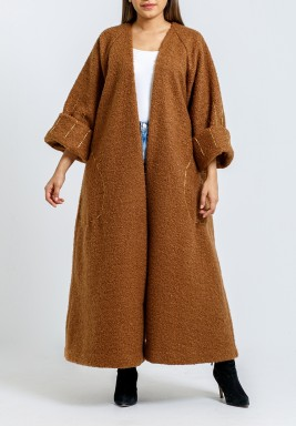 Brown Teddy Bisht with Gold Hand Stitching
