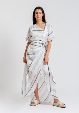 White & Grey Striped Wrap Dress