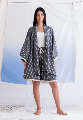 Ikat Grey Kimono and Shorts Set