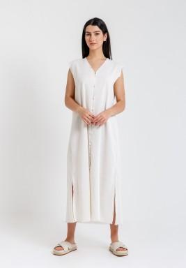 Beige Sleeveless Linen Dress