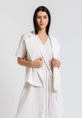 Beige Linen Cropped Tie Jacket
