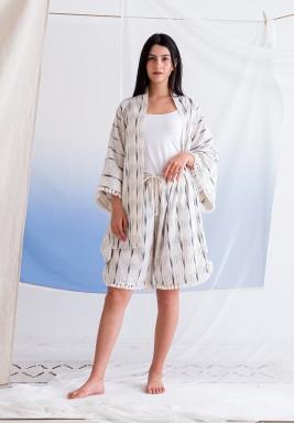 Ikat  Beige Kimono and Shorts Set