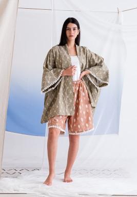 Ikat Multicolor Kimono and Shorts Set