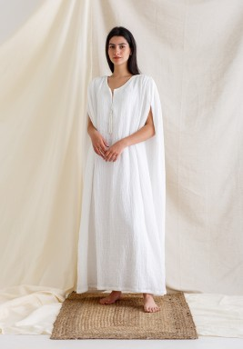 White Cape-Like with Handmade Pearl Tassel Kaftan
