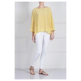 Yellow Silk Long Sleeves Top