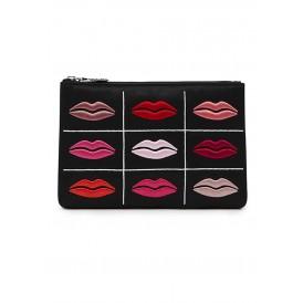Black purse multicolored lip prints