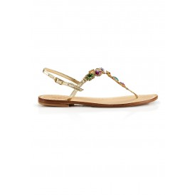 Gold multicolored sandals