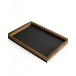 صينية خشب وجلد لون فحمي