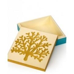 صندوق خشبي منقوش برسم يدوي  حجم صغير نمط مرجاني