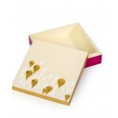 صندوق خشبي منقوش برسم يدوي  حجم صغير نمط قطرات