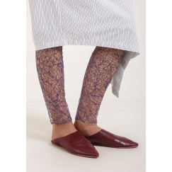 Blue Embroided Leggings