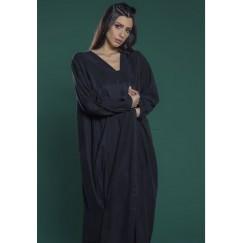 Draped Gathering Abaya Black