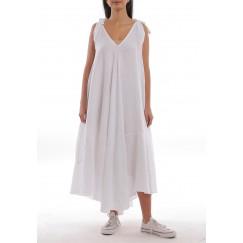فستان أبيض كتان بأربطة وقصة واسعة