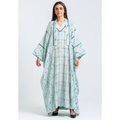 طقم أخضر فاتح فستان وبشت