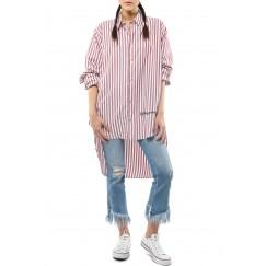 قميص مخطط باللون الزهري