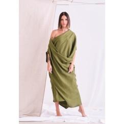 فستان أخضر برفرفات متوسط الطول