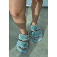 حذاء منزلي ازرق فرو