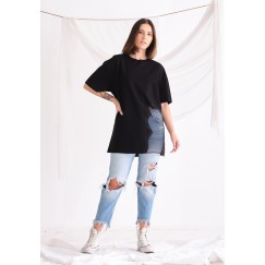 Oversized Black T-shirt with organza