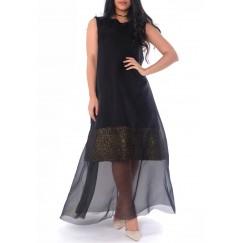 فستان لامع مع شيفون - أسود