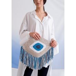حقيبة عين بيج وأزرق بشراشيب