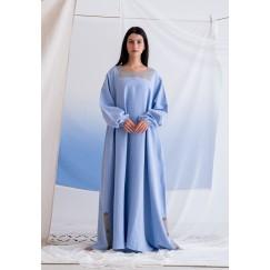فستان أزرق ماكسي بأزرار