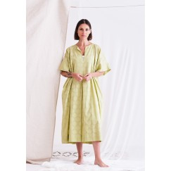 فستان أخضر فاتح بأكمام قصيرة