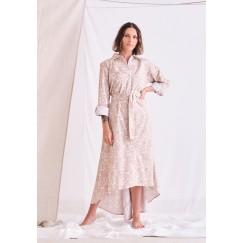 فستان بيج محزم متباين الطول