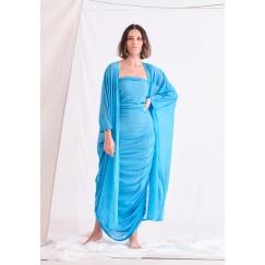 طقم أزرق فستان مزموم وبشت