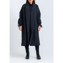 معطف أسود مبطن فضفاض