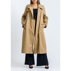 معطف بيج محزم بحبال وأزرار