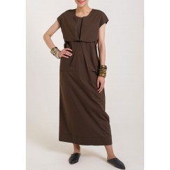 فستان بني غامق منفوش