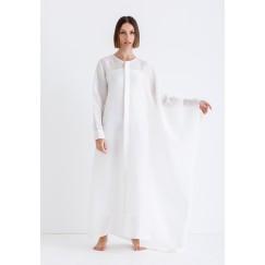 قفطان أبيض فضفاض بنمط قميص