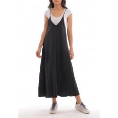 فستان أسود بكسرات متوسط الطول