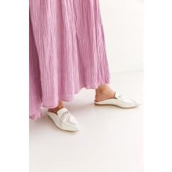 حذاء لولو الكريمي بخرز ومقدمة مدببة