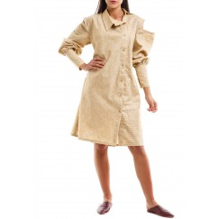 فستان بيج بكتف مقصوص