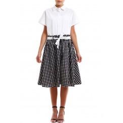 فستان بطرف سفلي مقلم مربعات أسود
