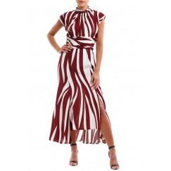 فستان مقلم خطوط كستنائي