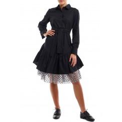فستان أسود مع شبك فضي
