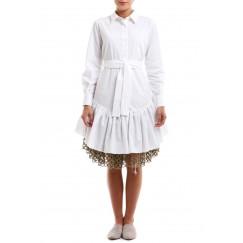 فستان أبيض مع شبك ذهبي