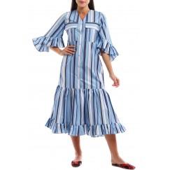 فستان مقلم خطوط متعددة الالوان