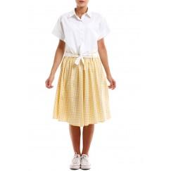 فستان بطرف سفلي مقلم مربعات أصفر