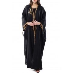 قفطان سيرما ذو طراز قديم مع وشاح - أسود