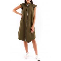 Olive pleats dress with pocket